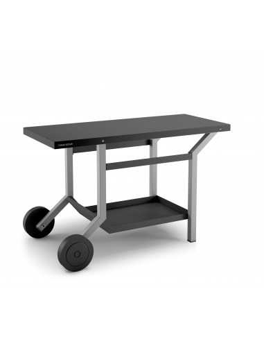 TABLE ROULANTE ACIER NOIR ET GRIS CLAIR TRA NG  FORGE ADOUR
